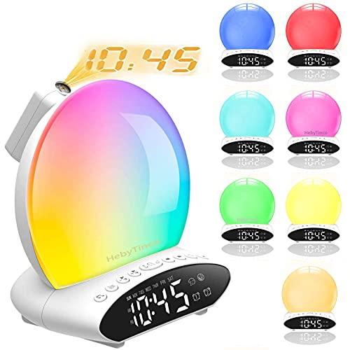 HebyTinco Wake up Light, Smart Wake Up Light Despertador Luz, LED Despertadores Digitales Luz Amanecer, 8 Sonidos Naturales, Radio FM, Simulación de Salida del Sol/Puesta del Sol