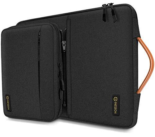 iNeseon 14 Pulgadas Funda Ordenador Portátil para 14'' Acer ASUS DELL HP Lenovo Huawei Chromebook Ultrabook, Funda Blanda Protectora con Bolsa de Accesorios Desmontable y Asa, Negro