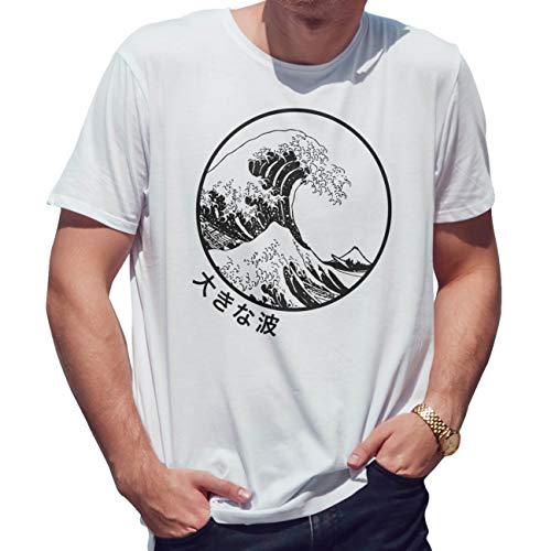 The Great Wave Off Kanagawa Japanese Kawaii Camiseta de Hombre Blanca Size XL