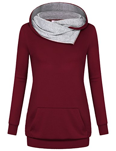 Fashion Sweatshirts, Miusey Women Burgundy Hoodie Youth Plain Long Sleeve Jumper Contemporary Clothing Vintage Loose Maternity Sporty Lightweight Pullover Cotton Tunic Blouse with Pocket Wine XL