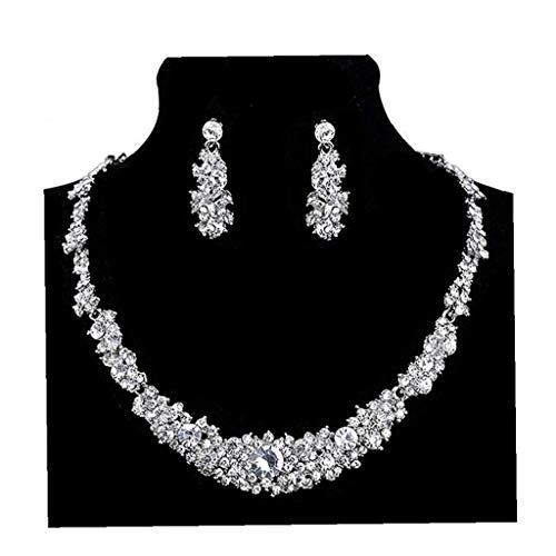 ZYCX123 Pendientes Collar de Cristal Novia de la Boda Preciosa Prom Rhinestone el Conjunto de Joyas para Mujeres Los Regalos para los Amigos