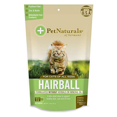(4 Pack) Pet Naturals of VT Hairball Supplements for Cats
