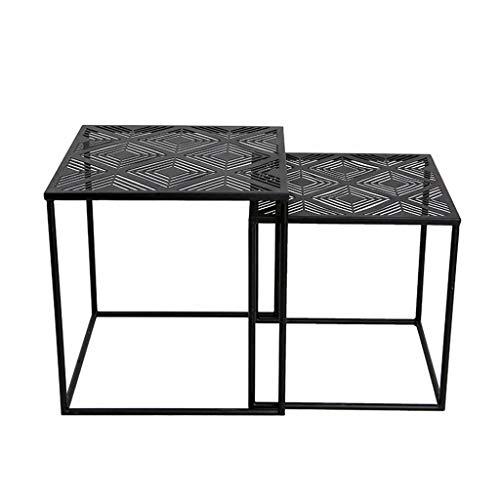 Table d'appoint Simple/Table Basse carrée en Fer forgé, légère, antirouille, utilisée dans la Chambre à Coucher du Salon de la Maison Moderne, Noire