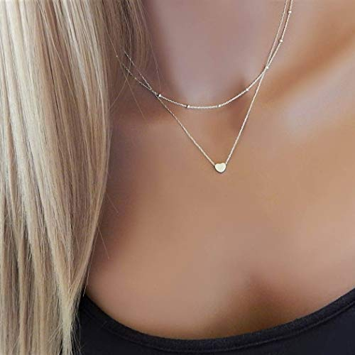 Jovono Boho Multilayered Choker Necklaces with Heart Pendants Jewelry for Women and Girls (Silver)