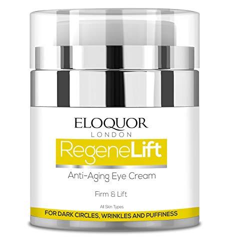 Eloquor RegeneLift Crema de ojos anti envejecimiento | Hidratante facial con ácido hialurónico y vitaminas para arrugas, líneas finas, círculos oscuros y hinchazón | Natural, orgánico y sin crueldad
