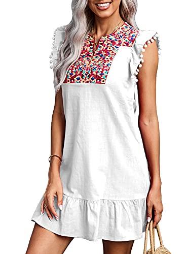 CORAFRITZ Vestido de mujer con bordado de manga pompón mini turno casual de verano mexicano con cuello en V y estampado bohemio vintage