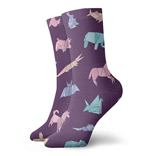 QUEMIN Regalo de Navidad del padre Calcetines de vestir estampados para hombres y mujeres Animales de Origami Colorido Divertido Novedad Calcetines de equipo loco 30 cm