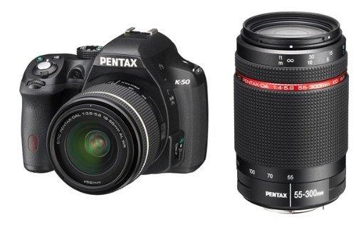 Pentax K-50 + DAL 18-55 WR + 55-300 HD WR + SD 4GB SLR-Kamera-Set 16.28MP CMOS 4928 x 3264Pixel Schwarz - Digitalkameras (16,28 MP, 4928 x 3264 Pixel, CMOS, Full HD, 590 g, Schwarz)