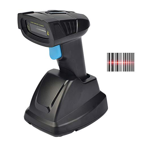 REALINN Barcode Scanner Wireless 1D Laser Handheld 2.4GHz Rechargeable Cordless Bar Code Reader with USB Cradle Long Distance Scanning for Supermarket, Warehouse, Inventory POS barcode handheld scanner