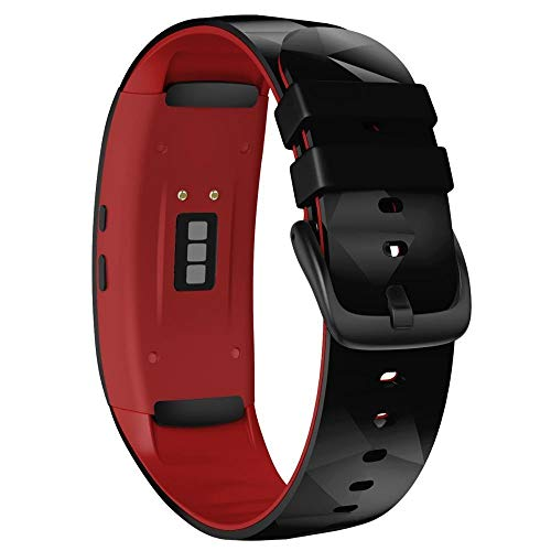 LIANYG Correa De Reloj Compatible para Gear Fit 2 Pro Correa Silicone Fitness Watch Band (Band Color : Black Red, Band Width : Small Size)