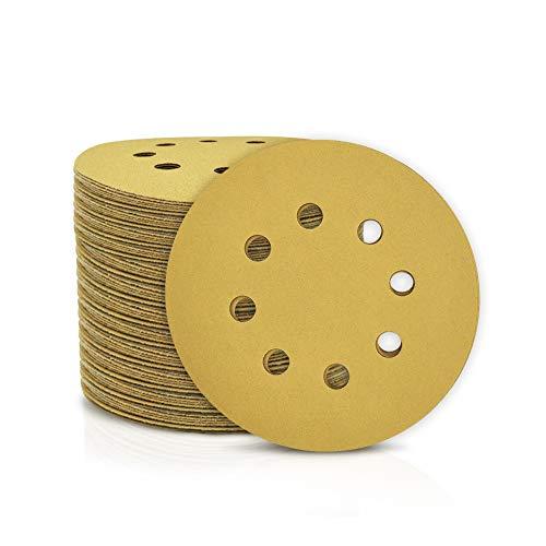 SPEEDWOX 100 discos de lija de 125 mm con 8 agujeros sin polvo con gancho y papel de lija para lijadora orbital al al azar, Grano 220, discos de acabado amarillo para carpintería automotriz