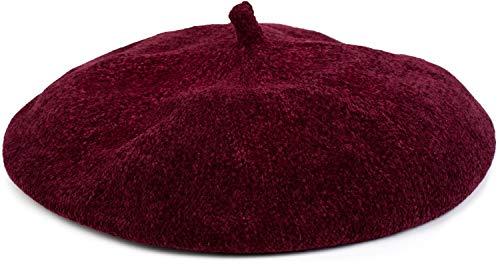 styleBREAKER Boina Vasca de Mujer en Suave óptica de Pana, Gorro francés 04024151, Color:Burdeos-Rojo