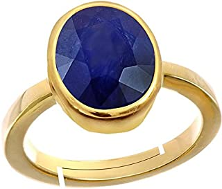 GEMS HUB Blue Sapphire/Neelam Stone Panchdhatu Adjustable Ring for Men