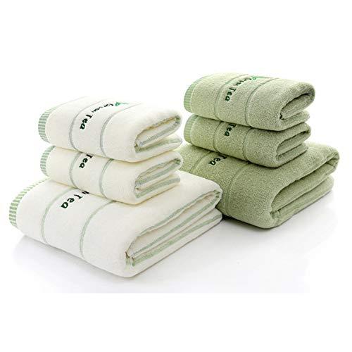 MGUOH 3 Unids * Lote Toalla De Terry De Algodón De Té Verde Bordada,Conjuntos De Toallas De BañoSuaves Y Elegantes paraBaño