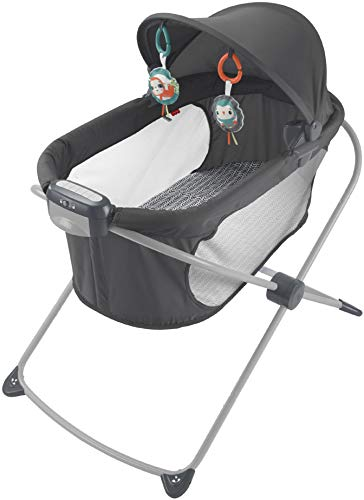 Fisher-Price, Soothing View Projection Bassinet - Pencil Strokes Folding Portable Baby Cradle with Projection Light for Newborns and Infants
