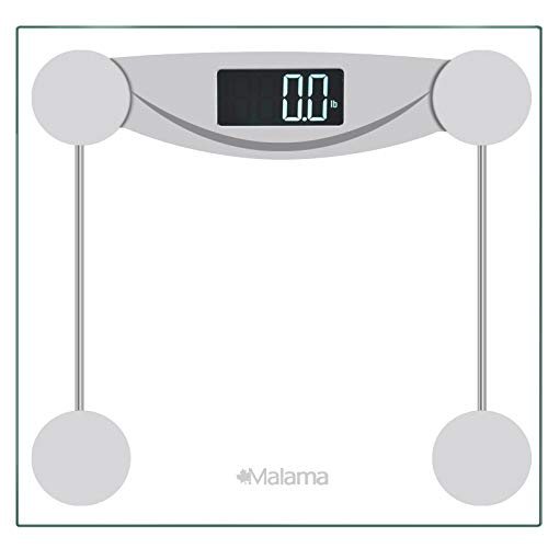 Malama Digital Body Weight Bathroom Scale, Weighing Scale with Step-On Technology, LCD Backlit Display, 400 lbs Accurate Weight Measurements, Silver