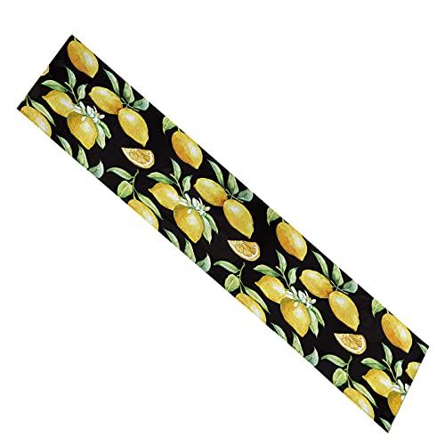 ASSR Camino de mesa de limón, rectangular bohemio, con patrón de limón, color amarillo, verde, doble capa de limón, fondo negro para mesa de café de cocina, 72 pulgadas