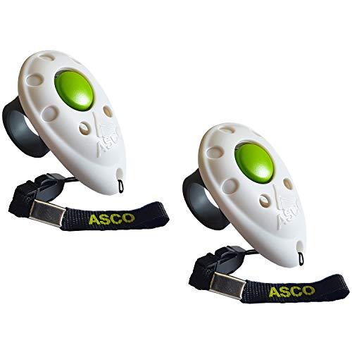 ASCO 2X Clicker Premium, clicker da Dito per clicker Training, clicker Professionale per Cani, Gatti e Cavalli, clicker per addestramento Cani, 2 Pezzi, Bianco AC05F2X