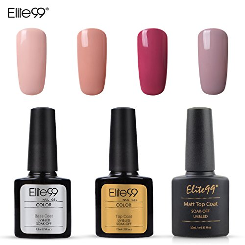Elite99 Esmalte Semipermanente UV LED 7pcs Kit Uñas de Gel Pintauñas con Base Top Coat, Top Coat Mate, Esmalte de Uñas Soakoff Manicura - Nude 002