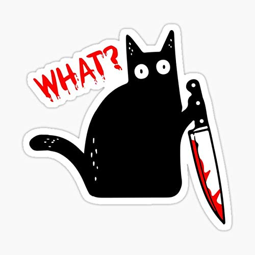 Funny Murderous Cat Holding Knife Halloween Costume - Black Cat What? Sticker - Sticker Graphic - Auto, Wall, Laptop, Cell, Truck Sticker for Windows, Cars, Trucks