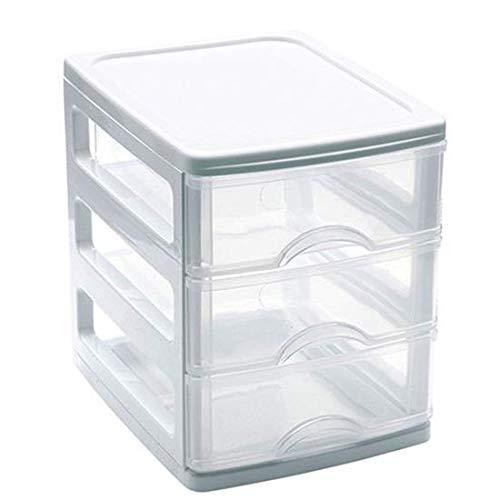 Mini Cajonera de plástico 3 cajones - Blanco 17x13,5x16,5 cm