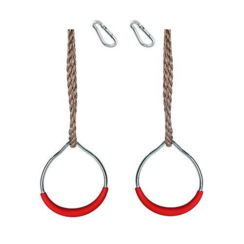 h2i Kinder Turnringe Seilringe aus Kunststoff - Metall incl. Karabiner zum Einhängen (Ringe Metall Rot)