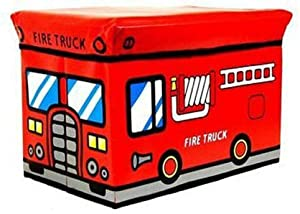 Ekas NEW KIDS STORAGE BOX SEAT CHILDREN POP FOLDING TOY CHEST CLOTHES TOYS BOOKS  Fire truck box