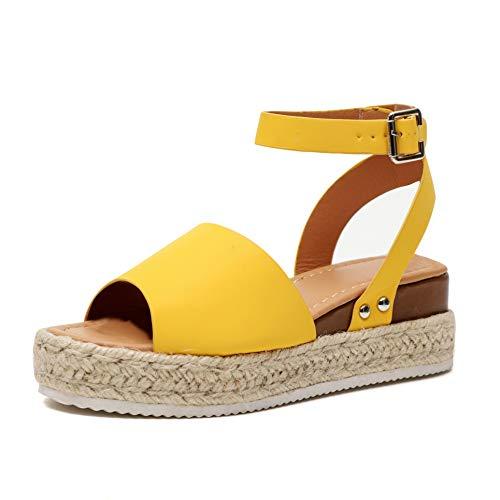 Sandalias Cuña Mujer Tacon Plataforma Verano Peep Toe Abierto Alpargatas Playa Gladiador Tacón 6cm Zapatos de Vestir Negro Amarillo Leopardo 35-43