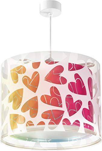 Dalber Lámpara infantil de techo Cuore Corazones Multicolor, 60 W, Rojo, 33 x 33 x 25 cm