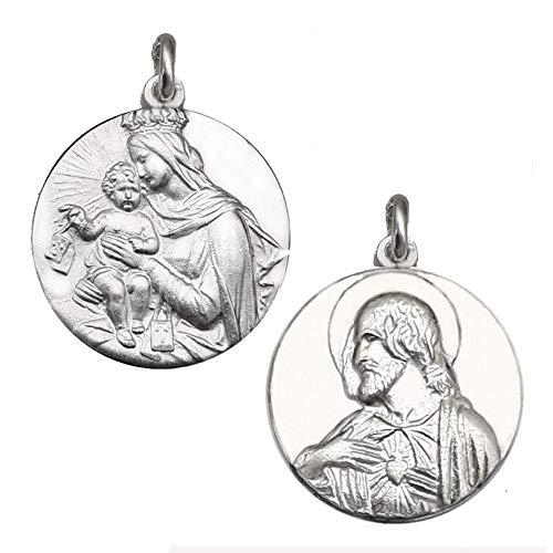 EKONAT- Medalla Sagrado Corazón y Virgen del Carmen - Escapulario del Carmen - Medallas religiosas