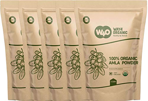 Organic Amla Powder for Eating and for Hair Growth 5 Pound (80 Ounces), Indian Gooseberry amalaki Supplement - Way4Organic