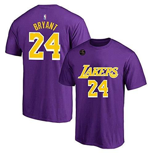 QKJD NBA Baloncesto Uniformes Camiseta de los Lakers Conmemorativa n. ° 24 Kobe City Edition Ropa Deportiva Camiseta de algodón de Manga Corta para Hombre Secado rápido, Transpirable E-XXXXXL