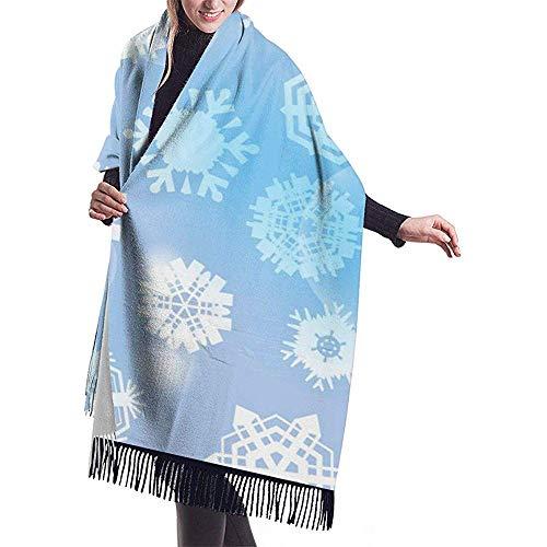 Nifdhkw Großer Schal Hellblauer Hintergrund Mit Schneeflocken Schal Wrap Winter Warm Schal Cape