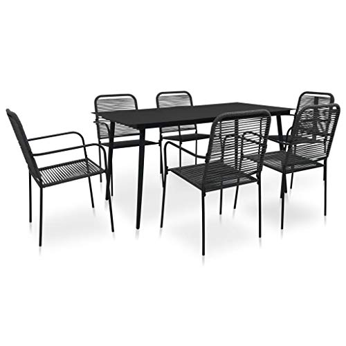Tidyard 7 Piece Outdoor Dining Set Material is Cotton Rope Powder-coated Steel and Tempered Glass