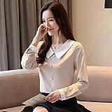 A-HXTM Camisa Elegante Mujer Encantadora Blusa Cuello decoración de Perlas Camisas de Gasa pring Office Lady Blusas Tops se aplican al Trabajo Negocios o Uso Diario etc.-Apricot_M