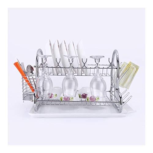 NINGWXQ Boven de gootsteen Droogrek Sink afdruiprek Rack 2 Lagen roestvrij staal verwijderbare Bestek Houders Met Drain Pan (Color : Chrome)