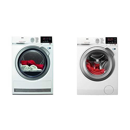 AEG T8DBA3 Wärmepumpentrockner/AbsoluteCare: Wolle-Seide-Outdoor trocknen / 8 kg & L6FBA68 Waschmaschine / 8 kg/Waschvollautomat mit Mengenautomatik, Nachlegefunktion, Kindersicherung