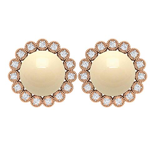 7.80 CT Japanese Cultured Pearl Stud Earring, Vintage Wedding Earring, Diamond Halo Ring, Gold Statement Earring, 14K Rose Gold, Pair