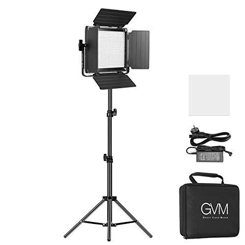 GVM LED Videolicht mit Stativ, APP-Steuerung LED Licht Fotografie zweifarbig 2300K-6800K LEDFotolicht mit Barndoor Studio LED Licht für YouTube Fotostudio, Videoaufnahme
