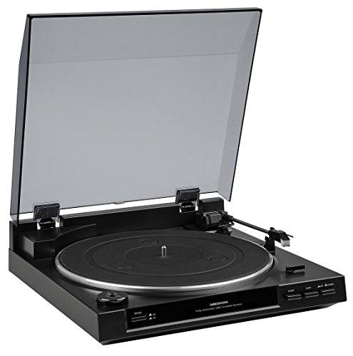 MEDION E65138 USB Schallplattenspieler (Turntable, 33/45 U/min, USB-Anschluss zum digitalisieren, AUX-Anschluss, gedämpfter Tonarmlift) schwarz