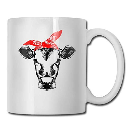 Daawqee Becher Coffee Mug 11oz Funny Cup Milk Juice Or Tea Cup Cow with Bandana Birthday
