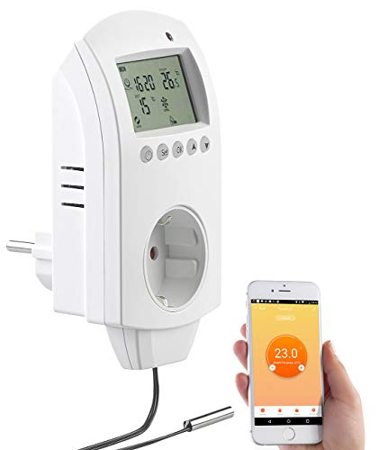 revolt Temperaturregler: WLAN-Steckdosen-Thermostat für Heizgeräte, App, Sprachbefehl, Sensor (Steckdose mit Temperaturfühler)