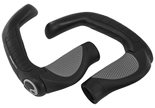 Ergon - GP5 Ergonomic Lock-on Bicycle Handlebar Grips with Extended Bar End Support | Gripshift Compatibility | for Hybrid Bikes | Large | Black/Gray