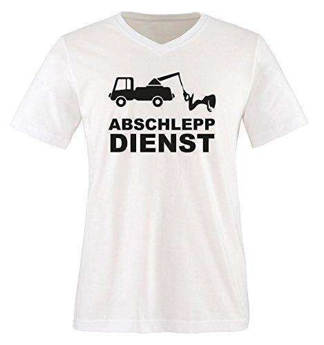 ABSCHLEPP Dienst - LKW - Herren V-Neck T-Shirt - Weiss/Schwarz Gr. S