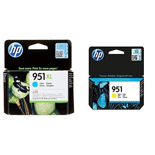 HP 951XL CN046AE Cian, Cartucho de Alta Capacidad Original, de 1.500 páginas, para impresoras + 951 CN052AE, Amarillo, Cartucho de Tinta Original, de 700 páginas