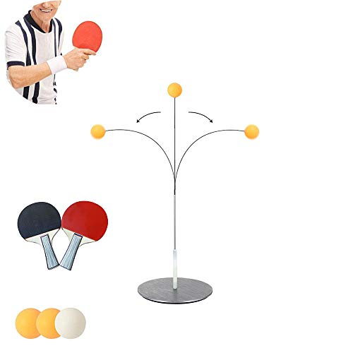 Review Of SIRUITON Table Tennis Trainer Elastic Shaft .Portable Table Tennis with Elastic Soft Shaft Leisure Decompression Sports for Adults and Kids Indoor Outdoor Play (2 pcs Paddle +3 pcs Ball)