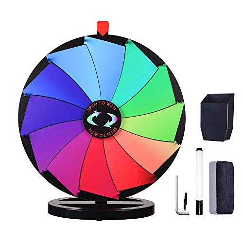 """WinSpin 24"""" Prize Wheel Dry Erase Fortune Spinning Game Carnival with Tabletop Stand 12 Slots Something Fun at Home"""
