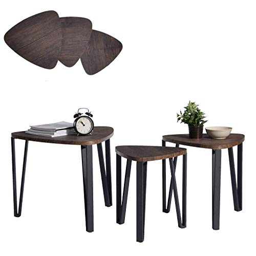 Aingoo Nest of Table Easy Assembly Industrial Nesting Table Set of 3 Coffee Tables End Side Tables for Home and Office, Dark Brown