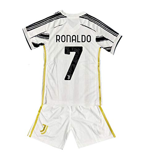 New 2020-2021 Season Ronaldo #7 Home Kids/Youths Soccer T-Shirts Jersey White/Black Size 6-7Years