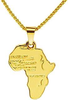 عقد بقلادة هيب هوب عصرية بسلسال وبحلية متدلية بتصميم خريطة افريقيا مطلي بالذهب 18 قيراط، للرجال